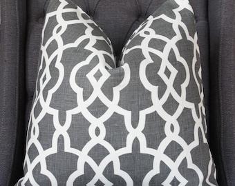 Gray Pillow, Gray Trellis, Designer Pillow, Decorative Pillow, Throw Pillow, Toss Pillow, Home Furnishing, Home Decor, Handmade Pillow