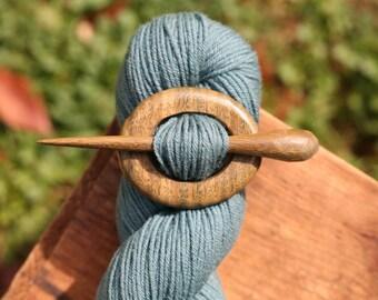 Lignum Vitae Shawl Pin - Handmade Wooden Shawl Pin in Reclaimed Wood - Eco Knitting Supplies