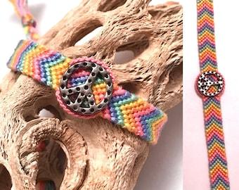 Friendship bracelet - peace sign - charm - pastel - chevron - braided - macrame - woven - handmade - string - embroidery floss