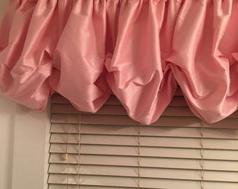 Pink Ice Faux Silk Balloon Curtains with no Ruffle for Double Window