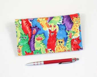 Last One! Bright Cats Checkbook Cover, Duplicate Checks, Pen Holder, Bright Cats Cotton Fabric, Cheque Book Cover