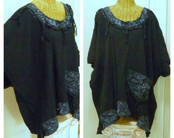 Black Caftan With Pocket 2x, 3x, 4x, 5x, 6x, Half Moon Bay Tissue Silk Tassels Oversized Cotton Gauze Plus size Womens