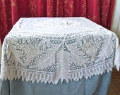 RESERVED FOR HUGH 1900 Antique White Linen Battenberg Lace Round Table Cover Grape Pattern