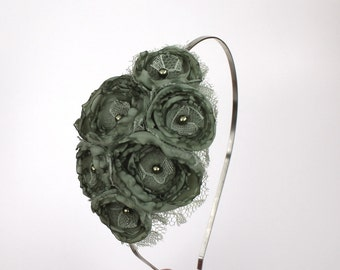 Sage Lace Flower Headband with Swarovski Detail