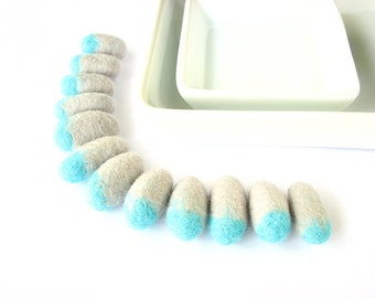 Ombre felted wool pebbles / beads  (12 pieces of light grey, turquoise). Felt ornaments, DIY wool necklace, woodland, rain drops, wool beads