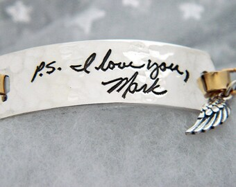 Handwriting Bracelet in Hammered Sterling Silver and Gold Signature Jewelry in Memory Bracelet