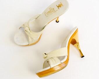 Vintage 1950s Womens Size 5.5 Shoes / 50s Carroll's Platform Stiletto Heel Mules Gold Capped Heel / Vixen Bombshell Retro VLV Pin-Up