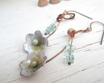 """Brins De Splendeur: earrings """"natures"""" in artisanal enamel and fluorite ...."""