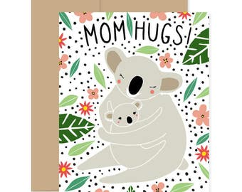 8 Mom Hug Cards, Blank Koala Cards, Koala Boxed Set, Koala Mothers Day Card, Koala Greeting Cards, Mothers Day Stationery