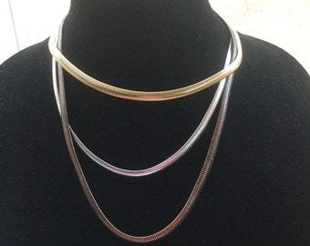 Vintage Monet Snake Chain Layered Necklace