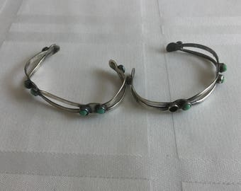 Pair of Mexico Sterling Silver Turquoise Cuff Bracelets