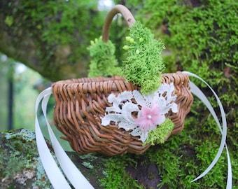 Rustic Wedding Basket, Flower Girls Basket, Nature Woodland Vintage Rustic Outdoor Weddings Basket, Brown Pink Green Weddings Decor,