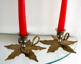 Vintage Brass Candle Holders Holly Leaf Christmas Candle Sticks Set of Two 1960s