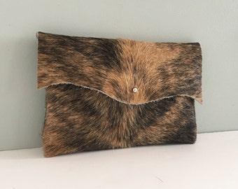 Raw Edge Hair on Hide Leather Clutch - Black and Tan Brindle Cow Hair Clutch - Cow Hide Bag - Fur Bag