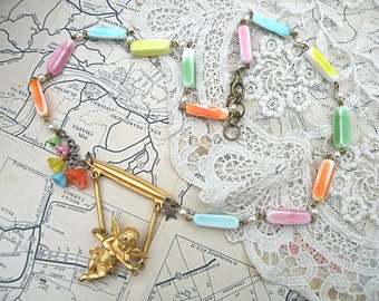 spring angel assemblage necklace cottage chic cherub feminine floral upcycled jewelry repurpose