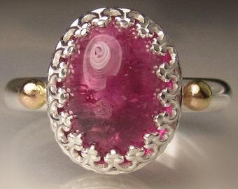 Pink Tourmaline Ring, Rubellite Ring, Pink Tourmaline Cocktail Ring, size 7.5