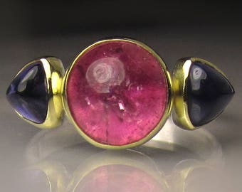 Pink Tourmaline and Iolite Ring, Pink Tourmaline Ring, 18k Gold and Sterling Silver