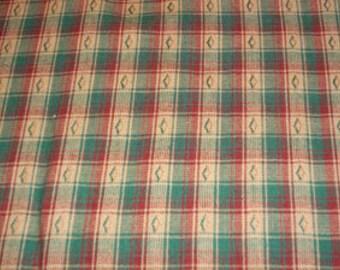 Homespun Cotton Fabric Reds, Greens and Eggshell Plaid Designs