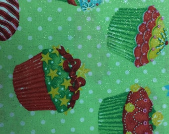 Cupcakes on Lime Green 100% Cotton Fabric