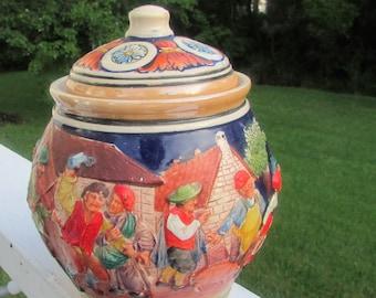 Antique German Tobacco JAR Beautiful Raised Figures Marked Germay