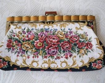 Vintage Purse Formal Tapestry Evening Clutch Purse Lucite Clasp
