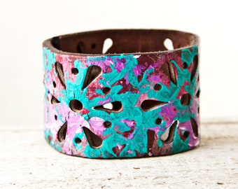 Boho Jewelry Leather Cuff Bracelet Gypsy Turquoise Purple