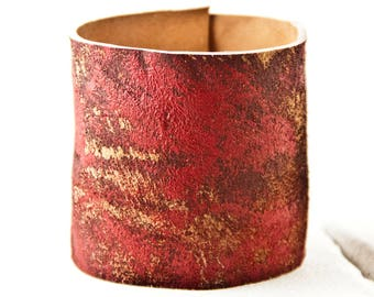 Women's Cuff Jewelry Brown Leather Wide Red Bracelet