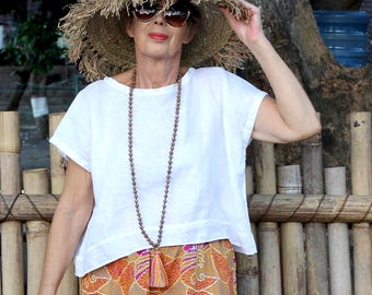 LINEN, Box Top, Dropped Shoulder, Resort Wear, Tropical, Island Style, Black, White, Gray, Natural, Irra Top, International Sizes 4-26
