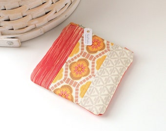 Red and Yellow Coin Purse Floral Change Purse Geometric Gift Card Holder