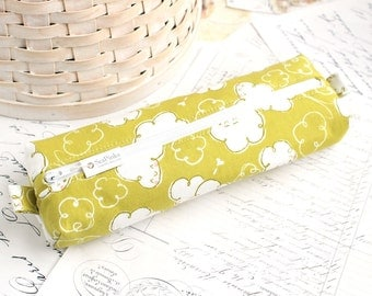 Chartreuse Green Cute Pencil Case Boxy Pouch Windy Cloudy Clouds Zipper Pouch