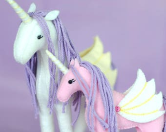 Felt Stuffed Unicorn Pattern * DIY Crafts * Make Your Own Felt Animals. Unicorn Plush Felt Stuffed Animal Pattern. * Pegasus Alicorn Horse *