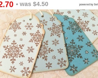 SALE Christmas Tags Snowflake Ombre Shades of Blue Gift Wrap Silver Glitter Set of 6