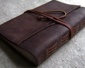 "Old world leather Journal, 6""x 9"", rustic dark brown journal,  vintage style handmade leather journal, travel diary,  (2415)"