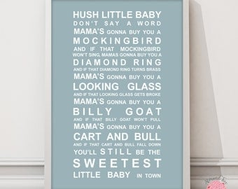 Hush Little baby - nursery rhyme print