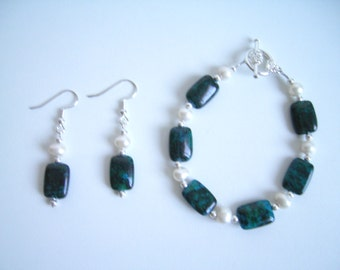 Chrysocolla, Freshwater Pearl and silver jewelry set