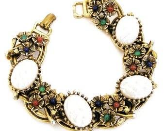 Jewel Tone Flower Glass Cabochons and Half Pearl Bracelet