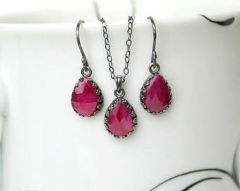 Ruby Teardrop Earrings Necklace Set | Pinkish Red Ruby Pear Briolettes | Oxidized Sterling Silver | Vintage Style | Birthday | Ready to Ship