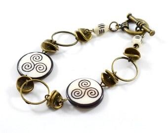 Brown and White Swirl Bracelet - Beaded Bracelet - Antique Brass Bracelet - Horn Bone Bracelet - Brass Bracelet - Boho Bracelet - B011