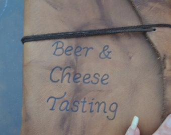 Beer and Cheese Tasting Leather Journal on the Go Free Personalization