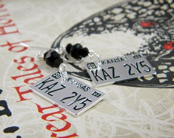 "Supernatural inspired License Plate Jet Black Crystal Earrings Galvanized Metallic Silver -  ""Baby Love"""