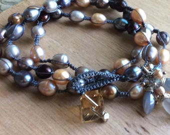 Pearl Wrap Bracelet with Gem Cluster Dangle - Earth Tones