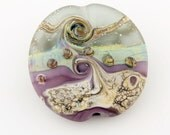SRA Lampwork Glass Bead, Organic Artisan Etched Focal Lentil, Purple, Green, Ivory