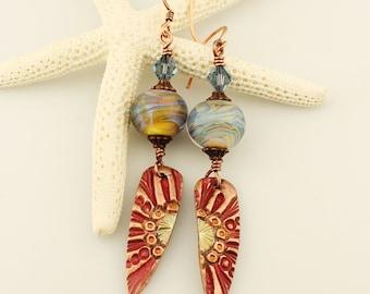 Lampwork Earrings, Antique Copper, Beaded Jewelry Boho Long Dangle, Blue
