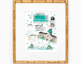Coastal Carolina Map Print