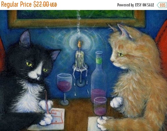 HOLIDAY SALE Tuxedo and tabby cat art print. The Plan