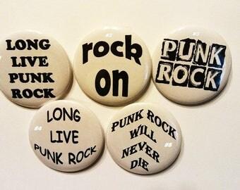 "Punk Rock, Rock Button, Alternative Rock,  Grunge, badge, Pin, Party Favor, 2.25"" Pinback Button, Photo Badge, Easter, Stocking Stuffer"