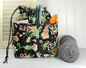 Small knitting crochet bag, drawstring pouch with pockets, gift for knitter, drawstring bag, floral print, sock knitting bag