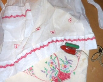 Vintage Red and White Vignette White Organdy Apron  w Red Trim Toy Red Iron Embroidered  Cloth