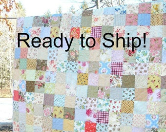 """Ready to Ship--Free US Shipping--Shabby Chic Quilt, Patchwork Quilt, Cottage Chic, bed qult, Picnic/Double/Full 81"""" X 81"""" All Cotton Blanket"""