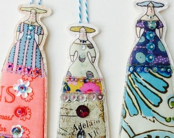 Handmade Whimsical Embellished Long Dress Lady Ornaments Tiny Dolls Set Of Three Flat Fabric Art Doll Decorations